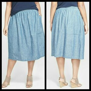 Eileen Fisher chambray calf length skirt